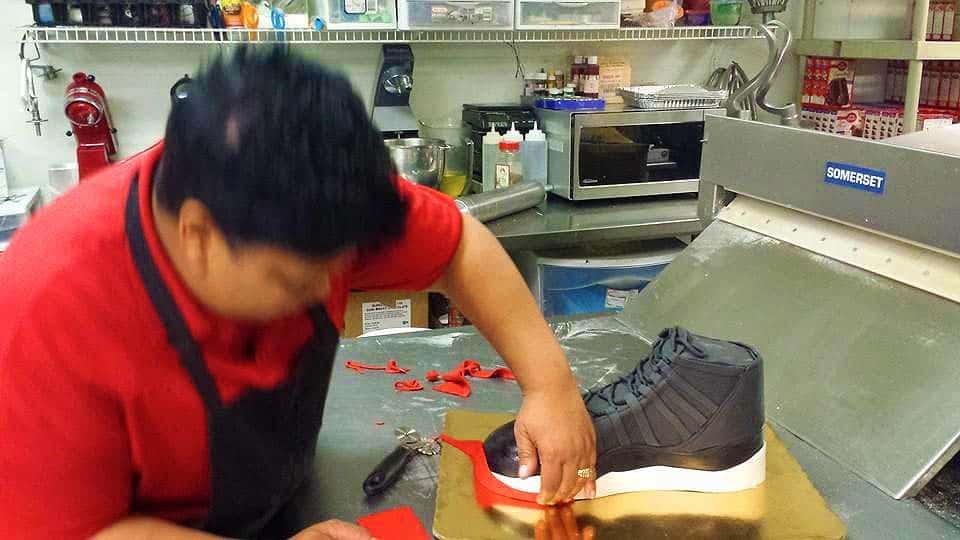 Nikki designing a shoe